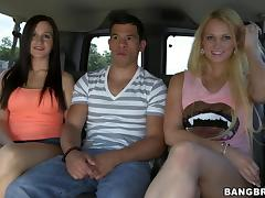 a blonde and a brunette in the back seat porn tube video