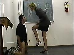 Authoritarian classy teacher gives ballbusting lesson tube porn video