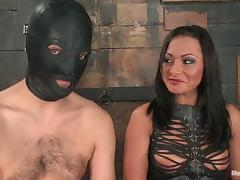 Masked Guy Strapon Fucked by Dominant Sandra Romain in BDSM tube porn video