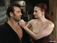 Wild Dominant Redhead Claire Adams Plays with Submissive Guy in BDSM