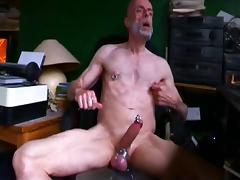 Pierced Daddy wank and smoke porn tube video