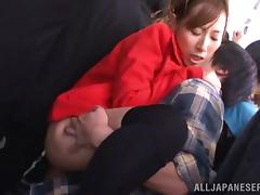 Japanese chick gets fingered and fucked in overcrowded bus