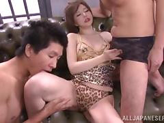 Japanese milf Yuria Satomi gets fucked and facialed by two dudes