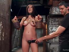 holly has to balance two buckets of bricks tube porn video