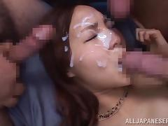 Bukkake, Asian, Blowjob, Brunette, Bukkake, Cumshot