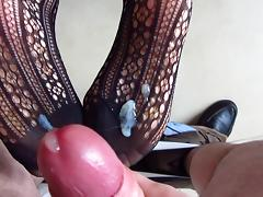 Feet in bodystocking creamed porn tube video