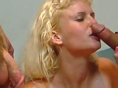 Curly-haired blonde being fucked in her anal