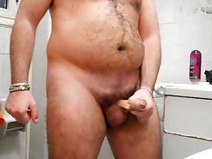 Jerkin' off with intense cumshot in the bathroom