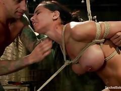 Brunette Brandy Aniston gets bounded and pounded porn tube video