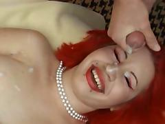 21114-Pierced Redhead Bukkake tube porn video