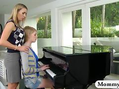 Mature piano teacher MILF spanks teen for punishment tube porn video