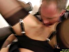 Euro mature in stockings gets pussy licked hard