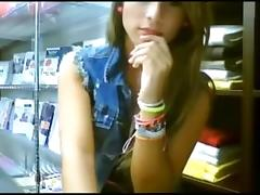 legal age teenager flashes at work