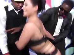 Asian interracial slut enjoys a gangbang