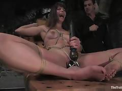 Bobbi Starr is tied up and seated on that huge dildo tube porn video