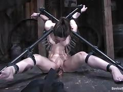 Amber Rayne gets suspended and then toyed in both holes