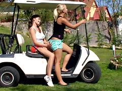 Busty Brunette and Sexy Blonde Having Lesbian Sex on a Golf Cart tube porn video