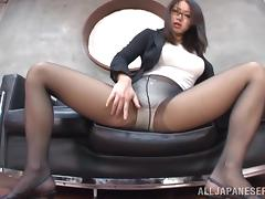 Elegant Japaense Office Lady with Big Tits and Pantyhose Gives Footjob