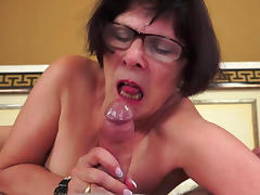 Dark-haired granny love to feel this dick tube porn video