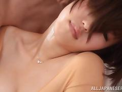 Asahi Mizuno wearing a bodystocking gets her Japanese cunt fingered