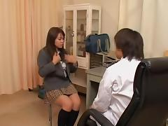 Slut in mini skirt is given a gyno examination in sex video tube porn video