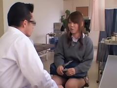 Playful Jap teen fingered during kinky medical exam