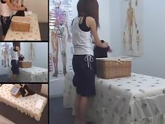 Twiggy hottie enjoys some massage on hidden camera tube porn video