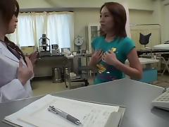 Hot lesbian dildo sex during kinky medical examination