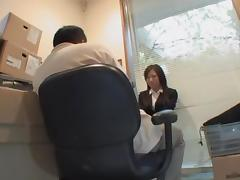 Cute Jap screwed in voyeur Japanese sex video in the office