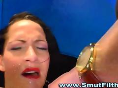 Cum fetish bukkake facial drench job on her face