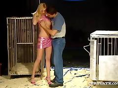 Long-legged blonde Yasmine Gold milks a hard cock dry into her mouth