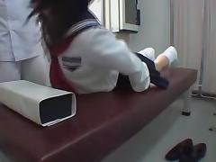 Jap schoolgirl fingered in voyeur erotic massage clip