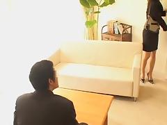 Japanese slut is fucked hard by her asian boss in his office tube porn video