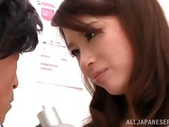 Japanese babe Kaede Imamura pleases a lucky dude with a footjob tube porn video