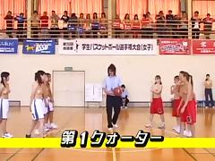 Hot Asians are playing basketball game topless public flash porn tube video