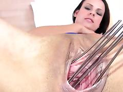 Sexy kitchen tool in her monster pussy tube porn video