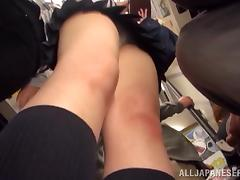 Asian girl in school uniform gets fucked by three dudes in the street