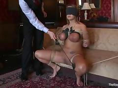 Kinky tied up girls get their pussies stuffed deep