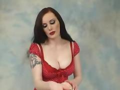 Busty Goth Chic In Red Lingerie Shows Boobs