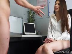 Japanese Girl Masturbates and Takes a Cumshot in Her Mouth in the Office tube porn video