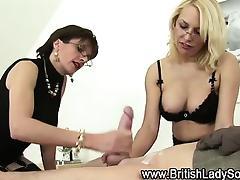 Femdom fetish bitch jerks dick