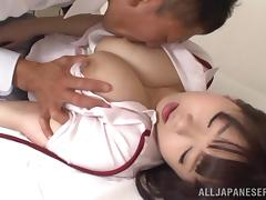 Busty Japanese Aimi Irie Fucks after 69 and Titjob