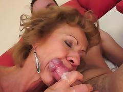 Bedroom, Bedroom, Blonde, Blowjob, Cumshot, Granny