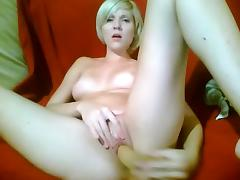 Blonde masturbating - And ORGASMS - on couch