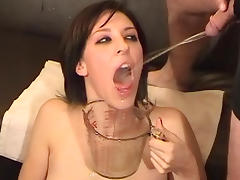 Humiliated brunette gets pissed by her ex boyfriends