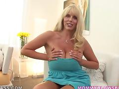 Big-assed blonde mom Karen Fisher enjoys playing with a cock indoors