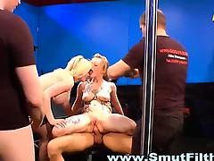 Dirty bukkake sluts showered in hot cum