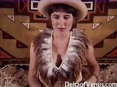 Hairy cowgirl gets banged in a Vintage Porn tube porn video