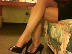 shiny pantyhose legs