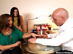 Two lustful chicks get fucked in a nail salon in CFNM video tube porn video